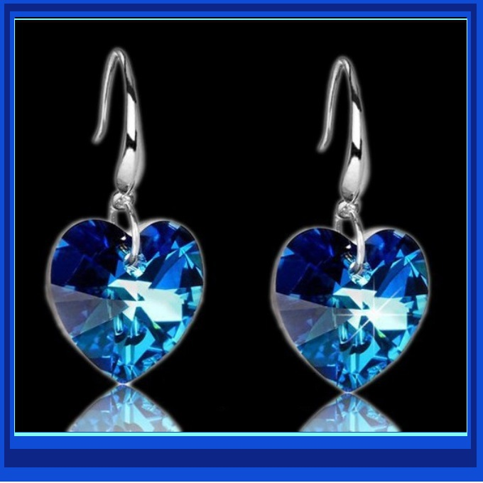 Deep Blue Sapphire Swarovski Austrian Crystal 18K White GP Heart Drop Earrings