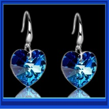Deep Blue Sapphire Swarovski Austrian Crystal 18K White GP Heart Drop Earrings image 1