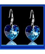 Deep Blue Sapphire Swarovski Austrian Crystal 18K White GP Heart Drop Ea... - $40.95