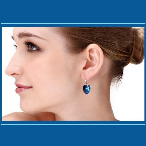 Deep Blue Sapphire Swarovski Austrian Crystal 18K White GP Heart Drop Earrings