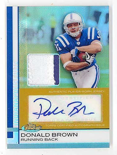 2009 Finest Gold Refractor Donald Brown Autograph Jersey Patch RC /25 #83 Rare F