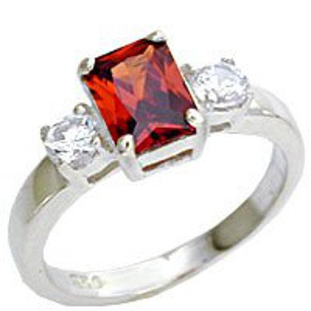 925 Sterling Silver Russian Garnet CZ Ladies Ring