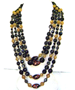 Vendome Murano Aventurine Black Gold Filigree 4... - $69.00