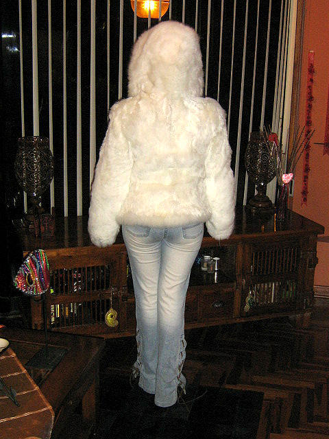 White hooded fur Jacket made of soft Surialpaca from the Andes of Peru, X-small
