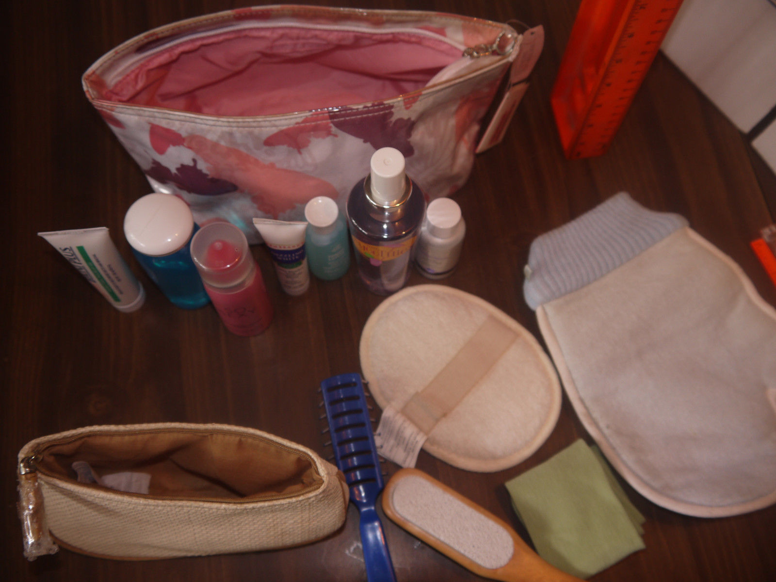 14 items New mixed Cosmetics lot w/2 bags & bath, personal sexy various products