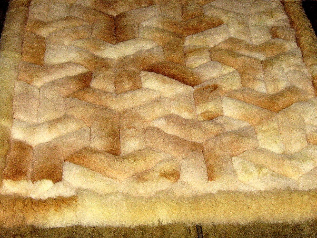 Alpaca fur rug with Y designs, from the Andes of Peru, 80 x 60 cm