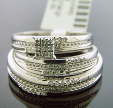 10K Solid Gold engagement wedding his her trio ring set 0.15ct diamonds ... - $404.41
