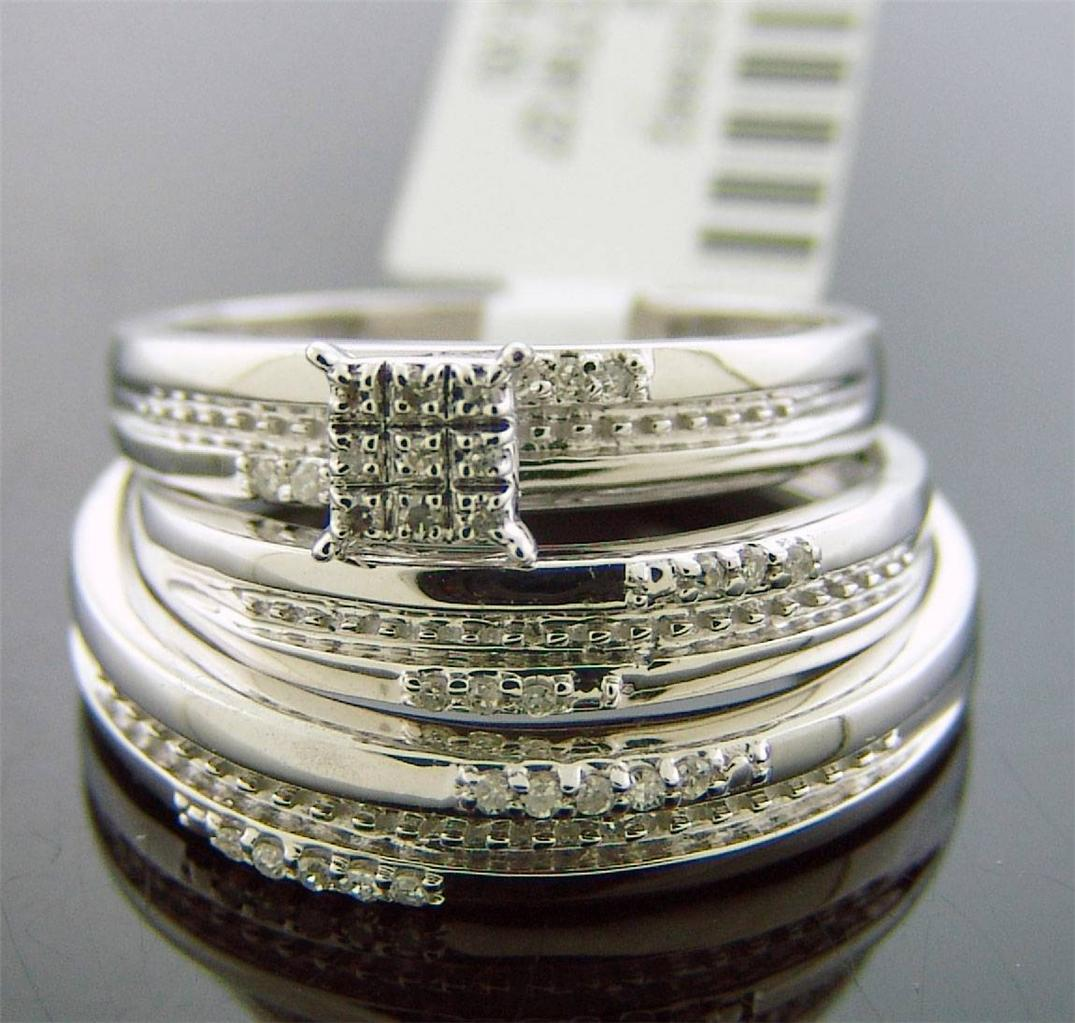 10K Solid Gold engagement wedding his her trio ring set 0.15ct diamonds 5.4Grm
