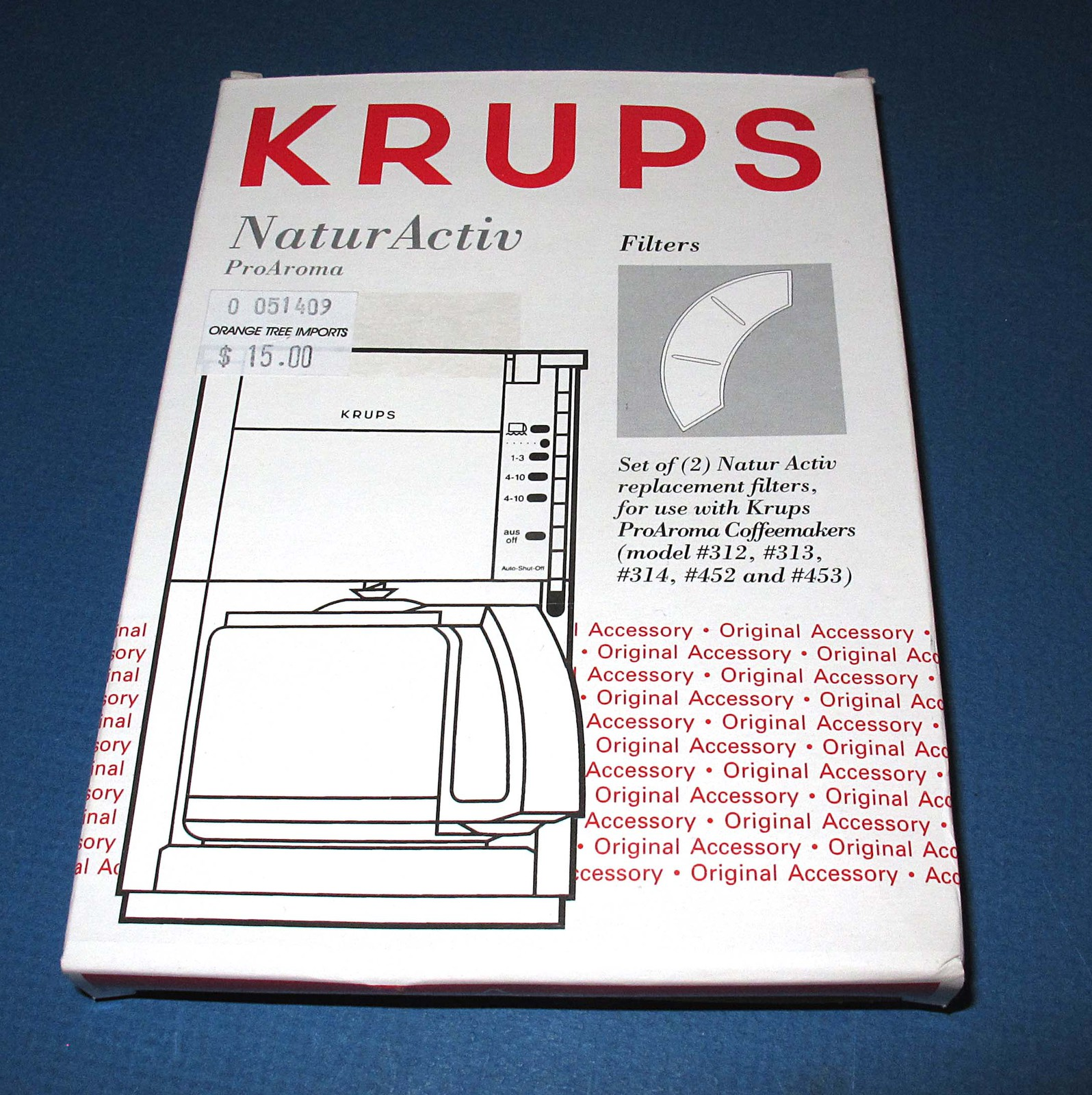 2 krups original natur activ proaroma coffee maker filters for 312 313 314 452 4 replacement. Black Bedroom Furniture Sets. Home Design Ideas