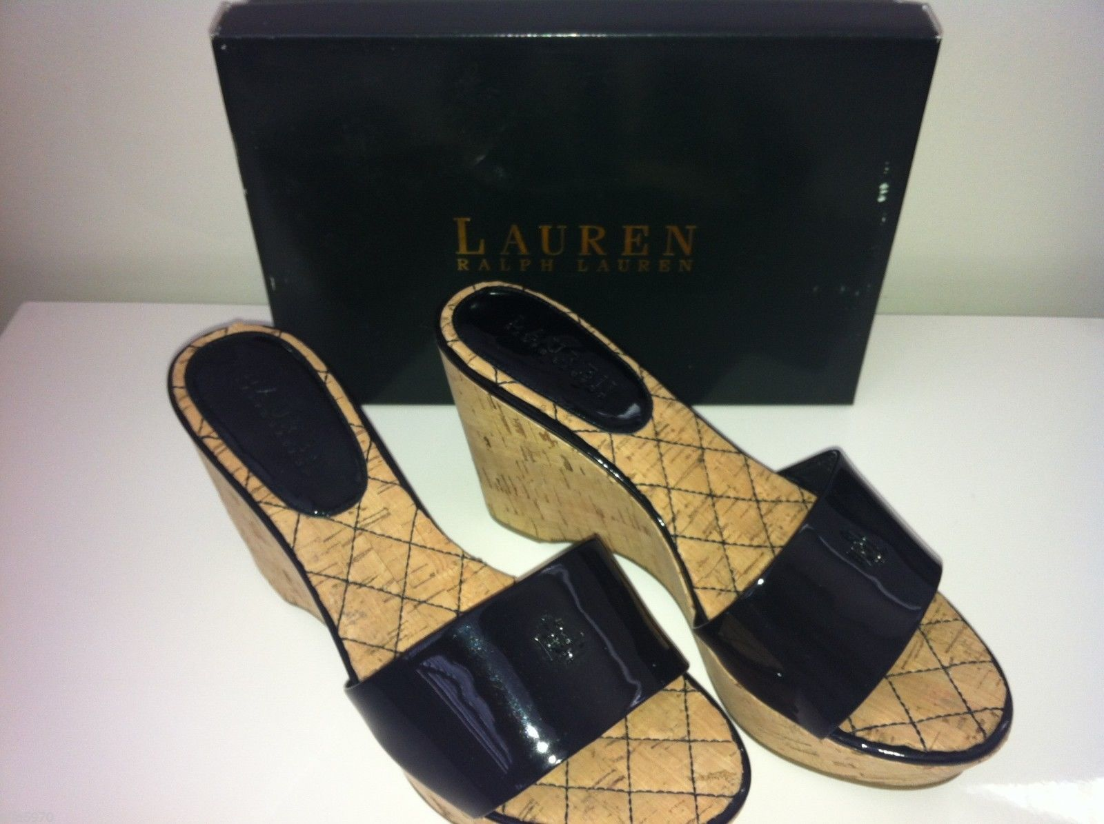RALPH LAUREN PATENT LEATHER WEDGE SANDALS SHOES - 8.5M -NWB