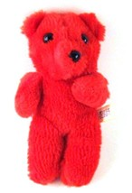 "Nanco 7"" Red Teddy Bear Vintage Made in Korea - $6.85"