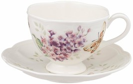 Lenox Butterfly Meadow Orange Sulphur 8-Ounce Cup and Saucer Set NEW - £17.67 GBP