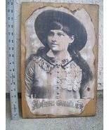Annie Oakley Repro Antique Photo Portrait Burnt Edges on 18X12 Wood Plaque - $29.95