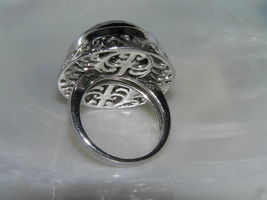 Estate 925 Sterling Silver Signed Large Faceted Black Glass Cab in Open Scroll image 3