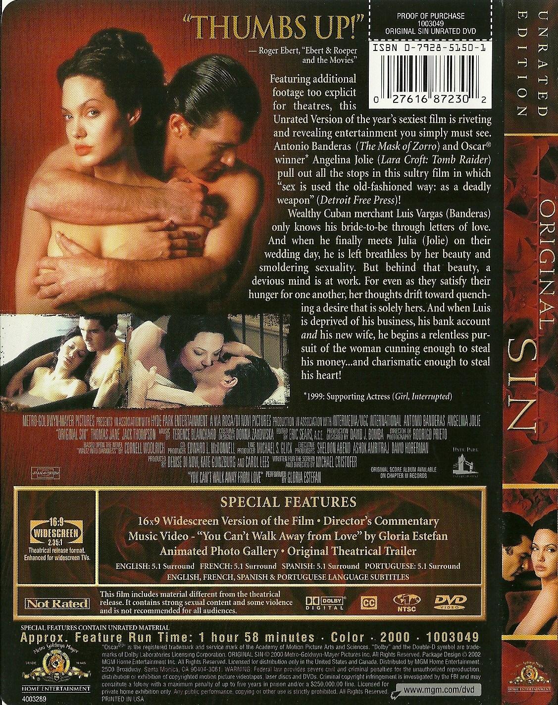 Original Sin DVD Angelina Jolie Antonio Banderas Widescreen Unrated