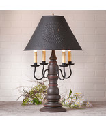 LARGE COUNTRY TABLE LAMP & PUNCHED TIN SHADE - Espresso & Salem Brick Re... - $370.21