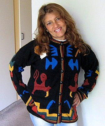 Women`s Cardigan with Inca Nasca designs, Alpaca wool