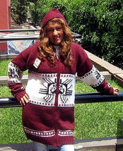 Hooded red Cardigan with an Inca Tumi design, Alpaca wool - $159.00