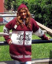 Hooded red Cardigan with an Inca Tumi design, Alpaca wool - $159.00