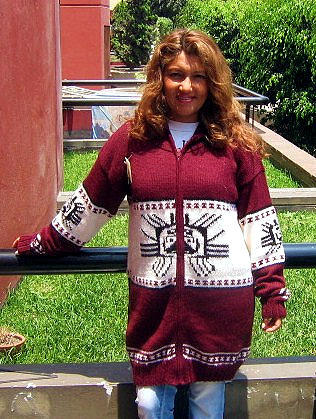 Hooded red Cardigan with an Inca Tumi design, Alpaca wool