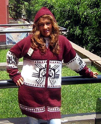 Hooded red Cardigan with an Inca Tumi design, Alpaca wool