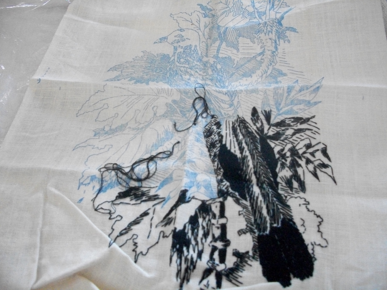 Tropical Bird Etching Embroidery Kit: Comes with Fabric, Floss & Directions