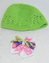 Unbranded Infant Toddler Lime Green Hat Stretch Removable Bow Multicolor image 5