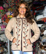 Folklorical embroidered cardigan, made of Alpaca wool, - $110.00