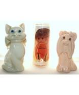 Vintage Avon Yorkshire Terrier & Milkglass Cat Bottles & Molly Orange Doll - $12.50