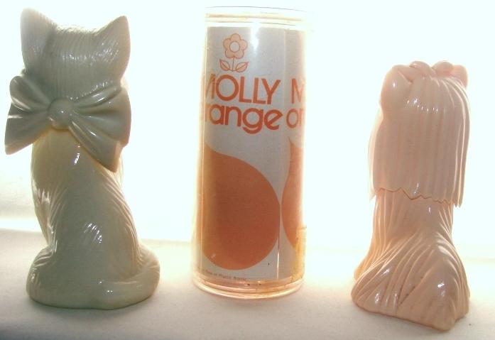 Vintage Avon Yorkshire Terrier & Milkglass Cat Bottles & Molly Orange Doll