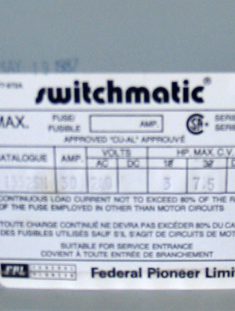 FPE SWITCHMATIC 30 AMP, 3 PHASE, 240 VOLT FUSED DISCONNECT SWITCH ~ MINT/RARE!