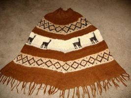 Turtleneck Poncho of natural Alpaca wool,outerwear  - $125.00