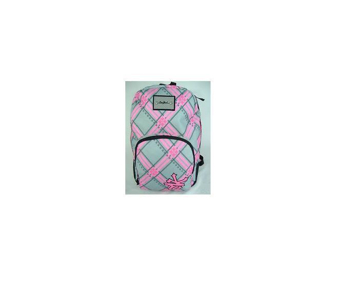 WOMEN'S GIRLS ZOO YORK GRAY/PINK PLAID PRINT SCHOOL BACKPACK DAY BAG NEW $40
