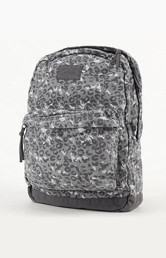 WOMEN'S GIRLS  O'NEILL CALDER FLORAL CHEETAH CANVAS GRAY SCHOOL BACKPACK NEW $70