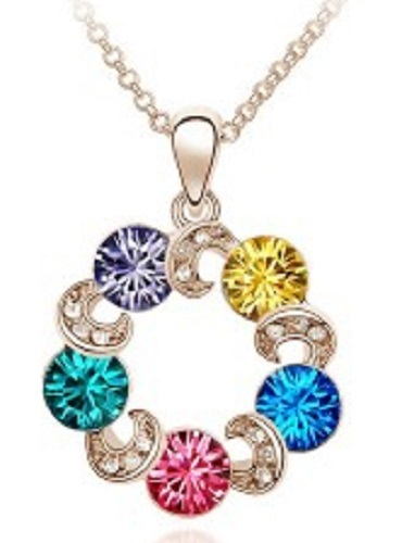 18K White Gold Plated Austria Crystal Pendant Necklace Chain Round Lucky Charm