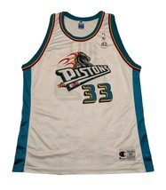 90s Champion Detroit Pistons Grant Hill 33 USA Made Men's Jersey size 52 VINTAGE - $57.95