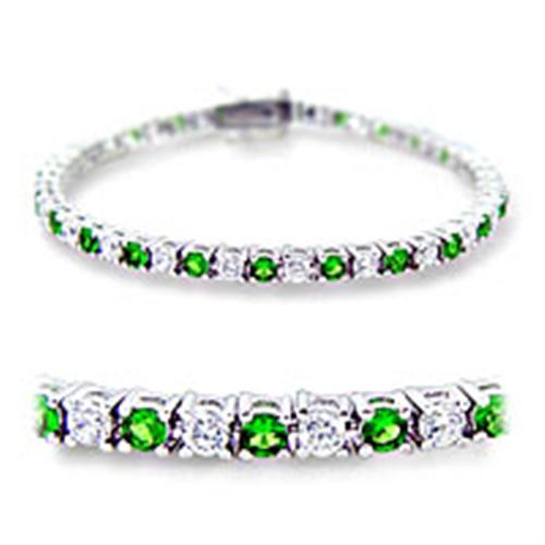 "7"" Lady's Bracelet W/ Emerald Round Cut CZ, May Birthstone, Rhodium Plating"