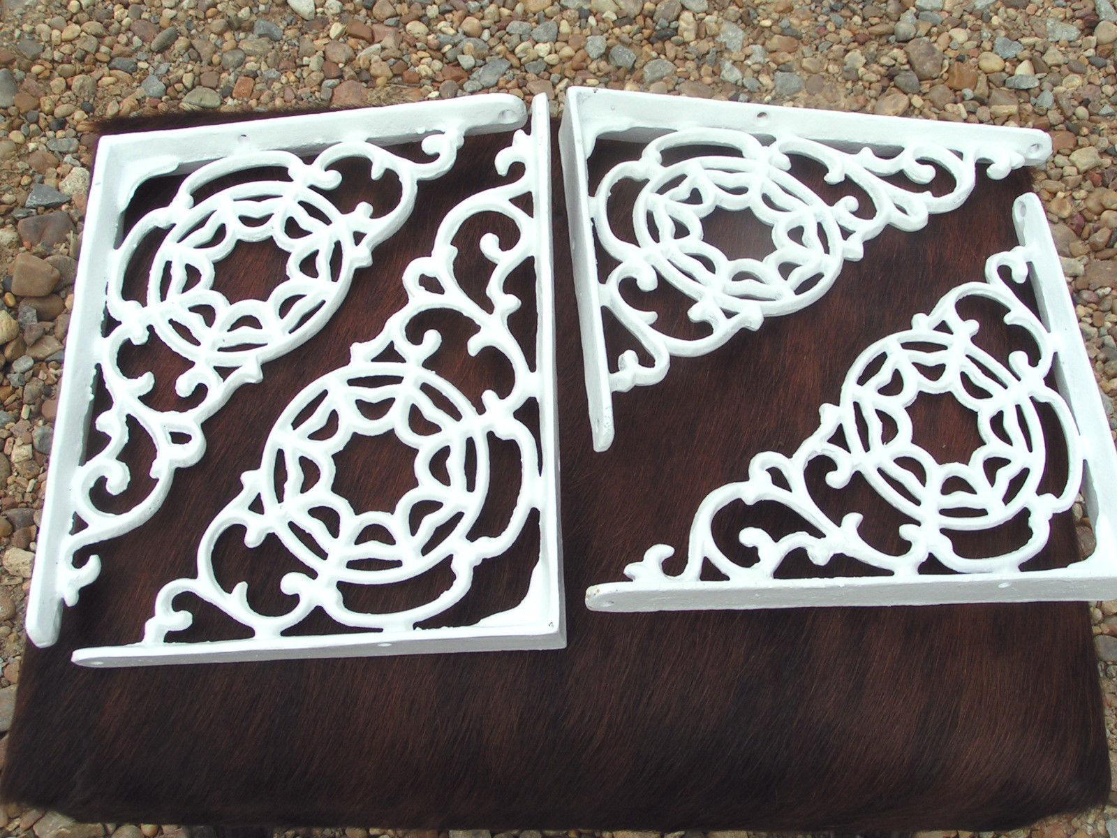 FOUR Cast Iron Brackets Wall Shelf Architectural corbels braces white