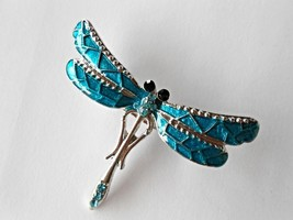 Fashion Enamel Inlay Blue Rhinestone Dragonfly Women Brooch Pin In Jewel... - $8.99