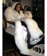 Women's white Baby Alpaca fur maxi hooded long Coat, Size 2x - small - $1,250.00