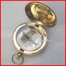 Brass Compass with Cover, Anchor Compass, Push Button Pocket Compass wit... - $17.49