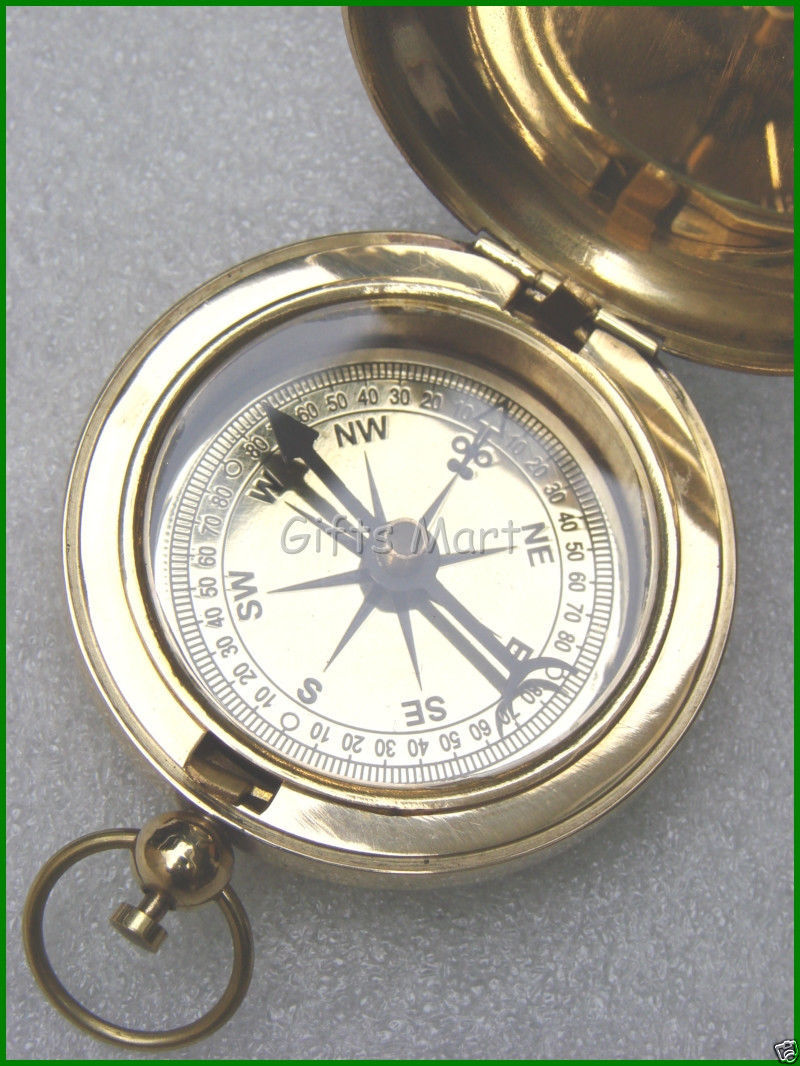 Brass Compass with Cover, Anchor Compass, Push Button Pocket Compass with Lid