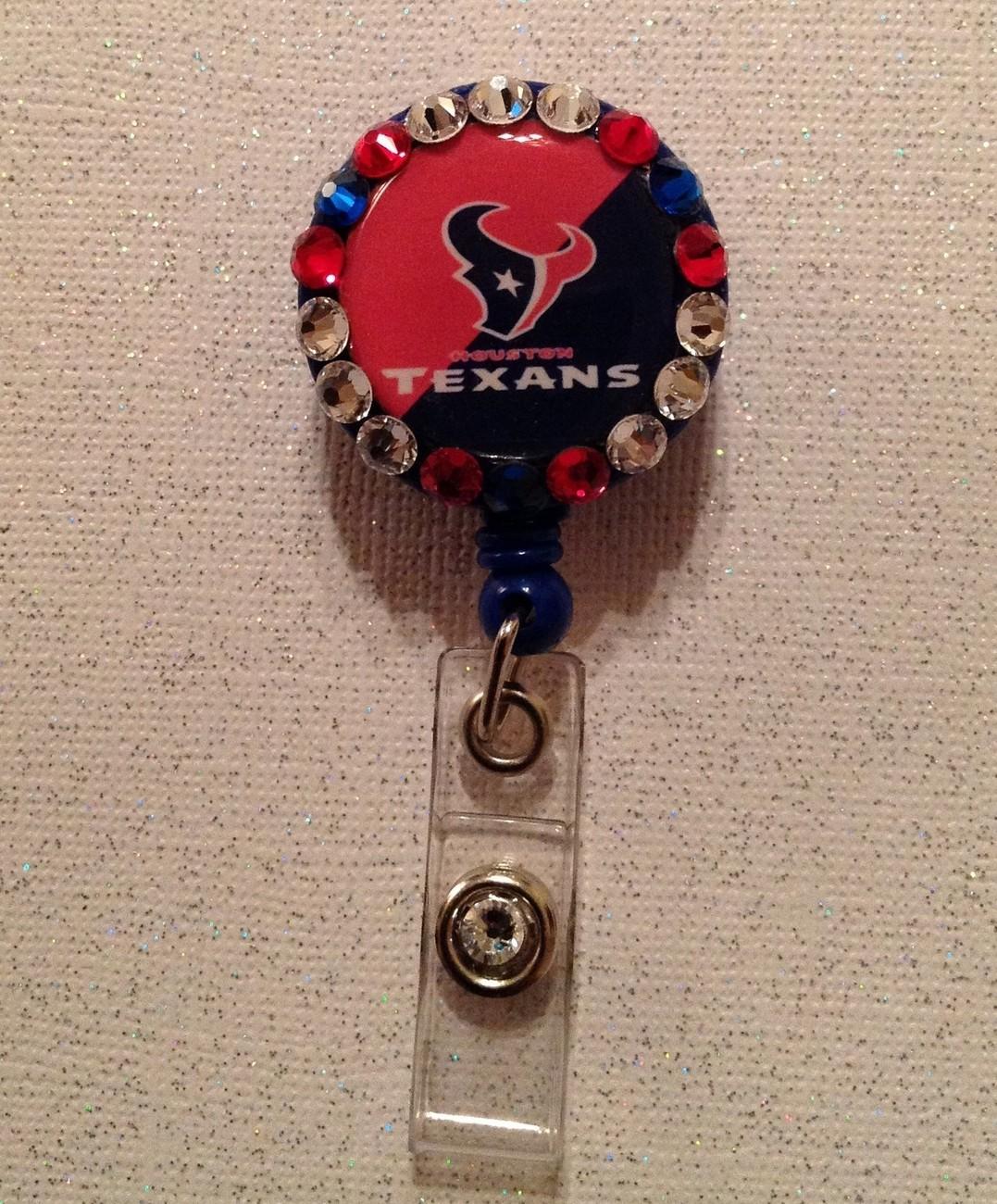 Nfl Houston Texans Badge Reel - Texans Badge Reel -  Texans Id Holder Alligator