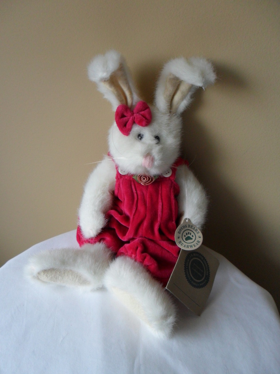"Boyds Bunny White w/ Pink Velour Jumper RETIRED! Plush Stuffed Bean 12"" New!"