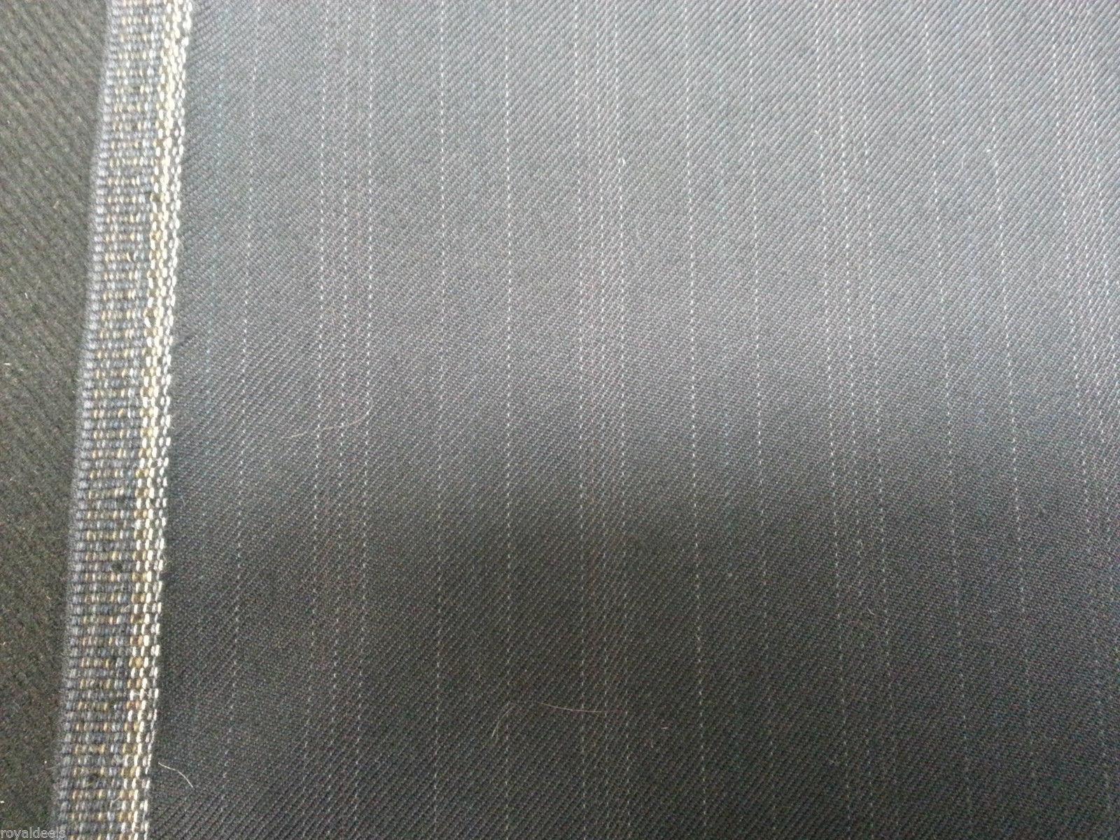 5 YRD NAVY BLUE ENGLISH WOOL Pin Stripe Suit Skirt Jacket Fashion Sewing Fabric