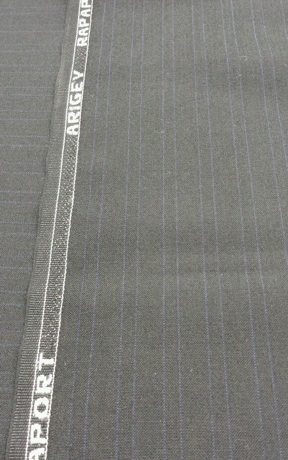 Black Fine 120'S Italian wool Pin Stripe Suit-Skirt -Sewing Fabric 4.6 YARD