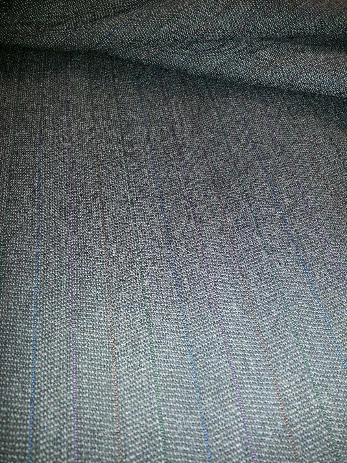6 YARD Grey  SUPER 110'S  WOOL DESIGNER SUIT FABRIC MSRP $850
