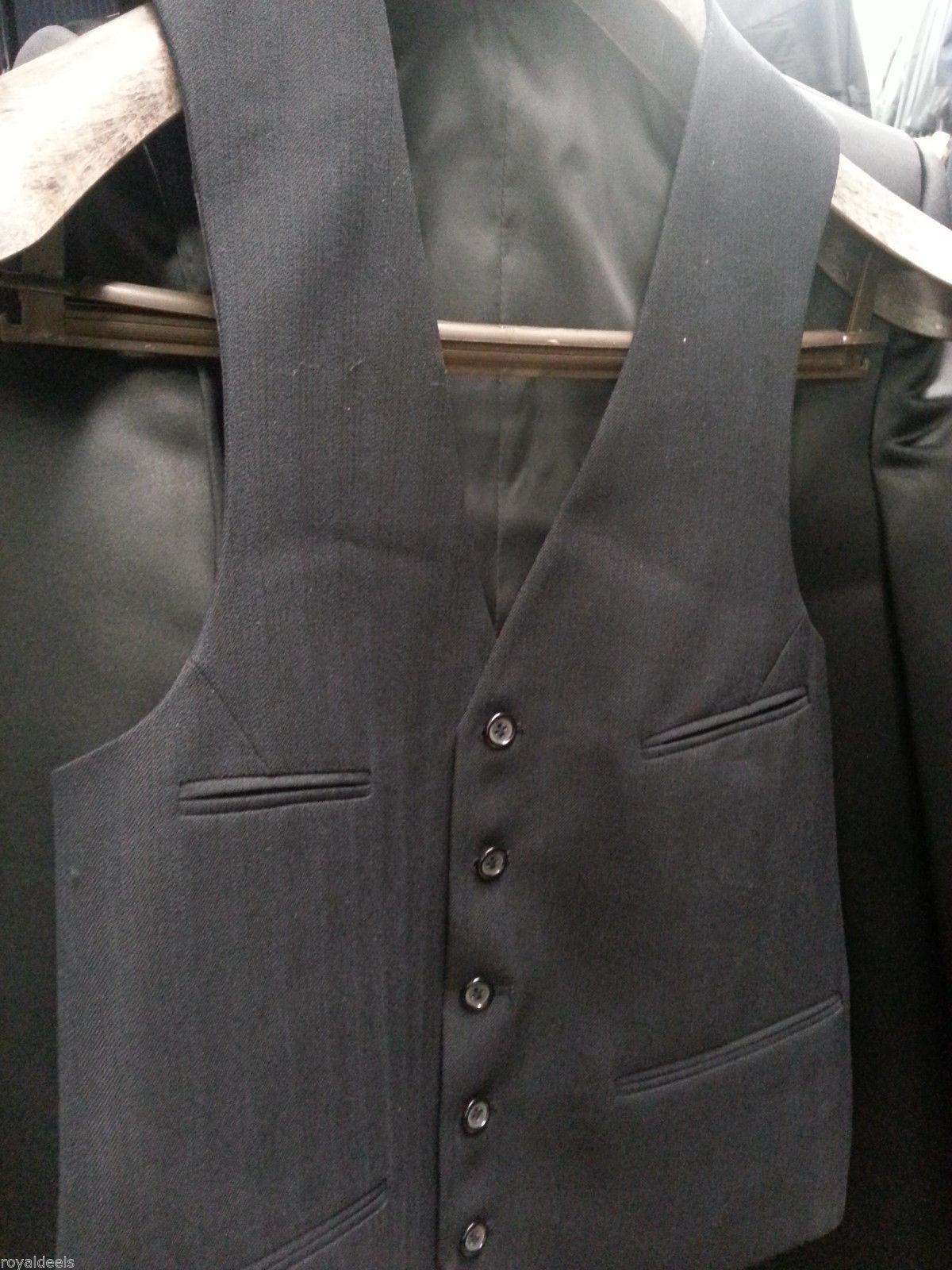 100% Wool Mens Vest 38 Navy Blue Suit Dress Coat Tuxedo Button Down Pocket