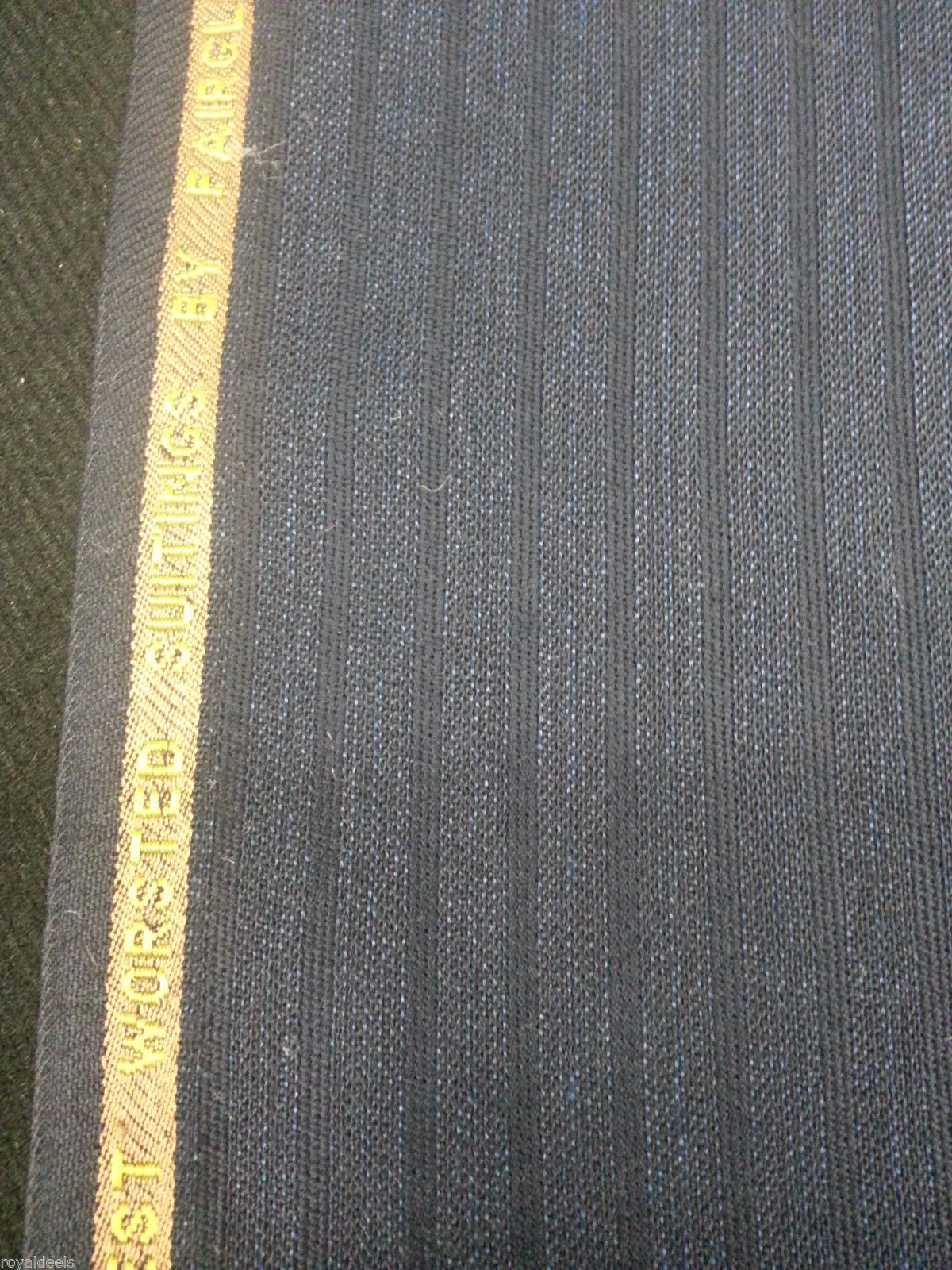 6 Yard 120'S ENGLISH FINE WOOL Wool Suit /Skirt  Fabric Blue Striped - MSRP $495
