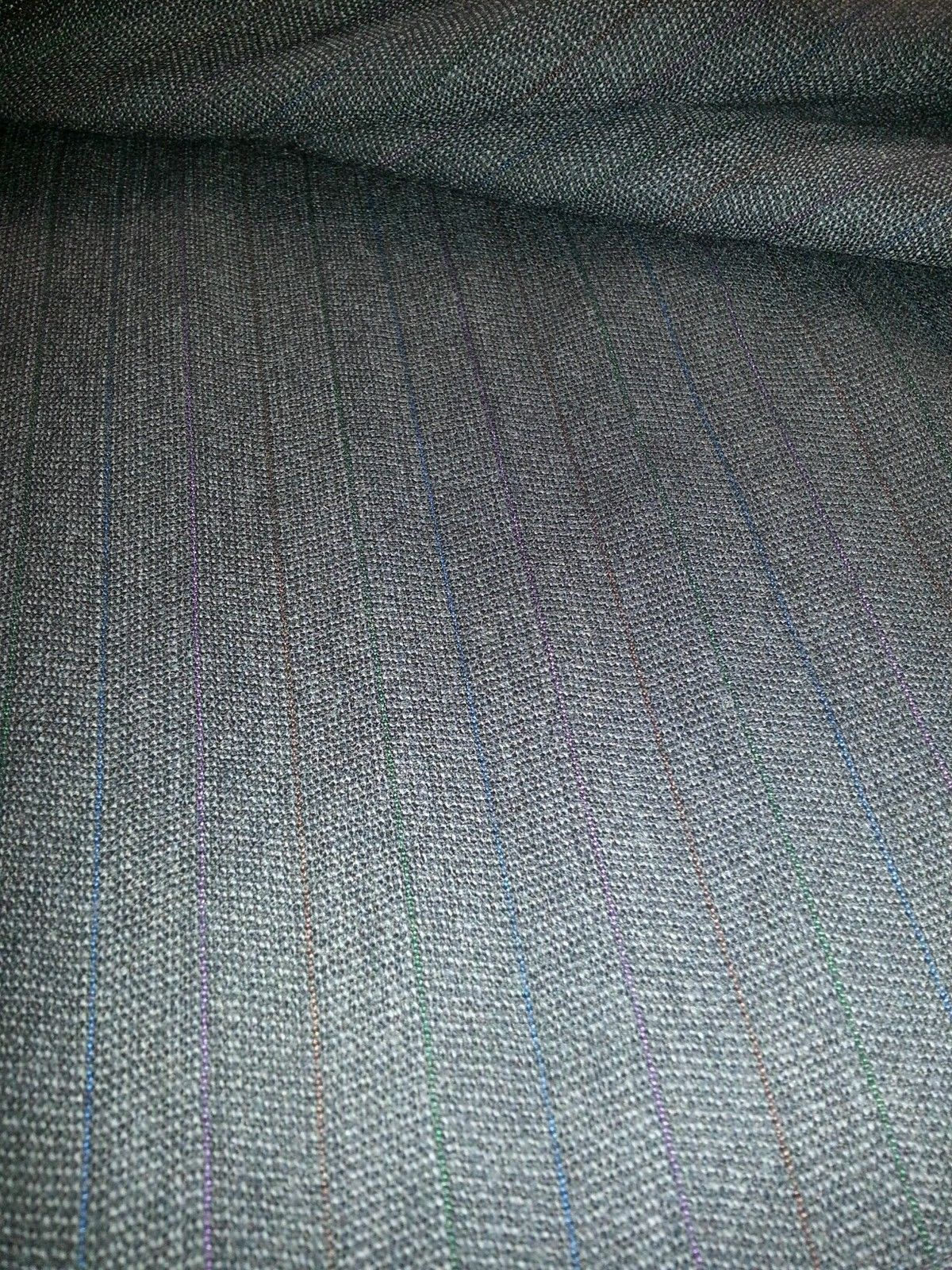 5.4 YARD Grey Striped  SUPER 120'S  WOOL DESIGNER SUIT FABRIC MSRP $699